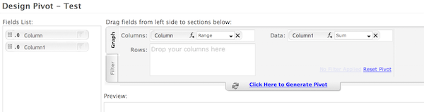 Designing your pivot table by dragging and dropping fields into the table