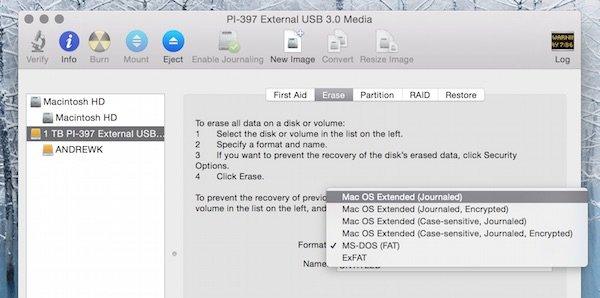 Formatting a new external drive for use with Time Machine