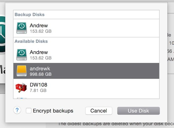 Select the newly setup drive to have Time Machine backup to the new drive