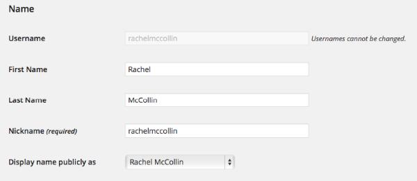User admin screen showing nickname