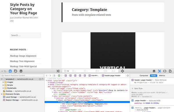 Page with developer tools open