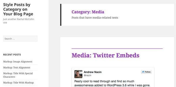Media archive title in purple
