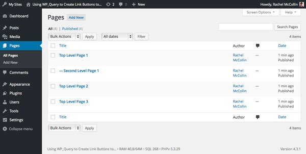 WordPress pages admin screen with pages added