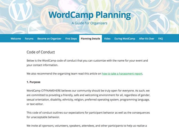 WordCamp code of conduct website