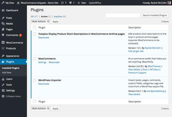 Activating the plugin via the plugins screen