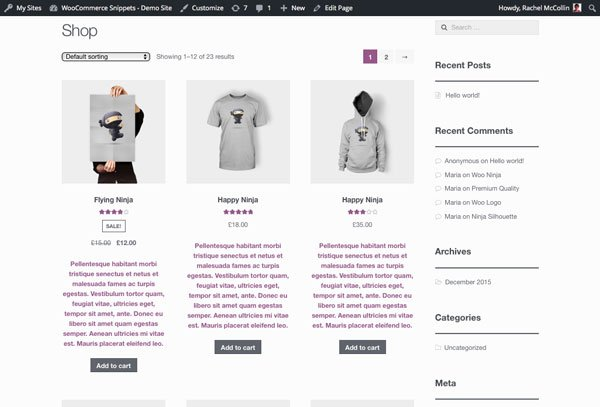The shop page with short descriptions added to products
