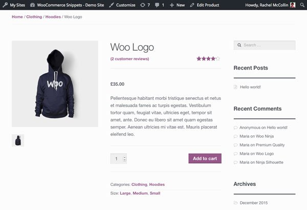 WooCommerce product page - product attributes with product short description in list