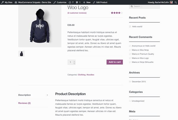 WooCommerce product page - product attributes tab removed