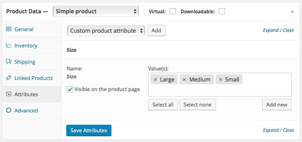 Adding product attributes in the product editing screen