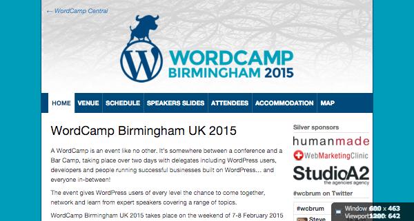 WordCamp Birmingham UK 2015 website