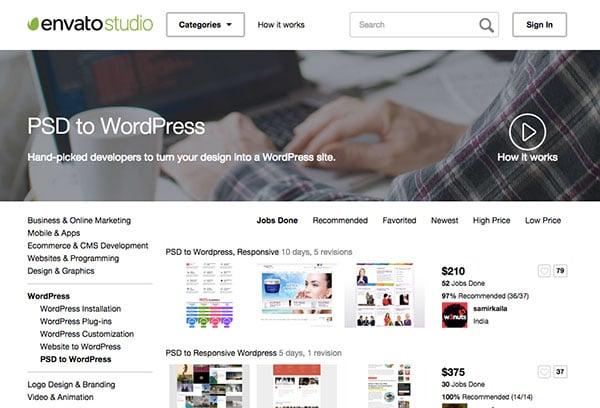 Envato Studio PSD to Wordpress site