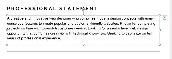 Modern Resume Text Box Adjustment