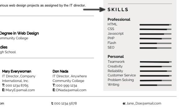 Modern Resume Skills Section