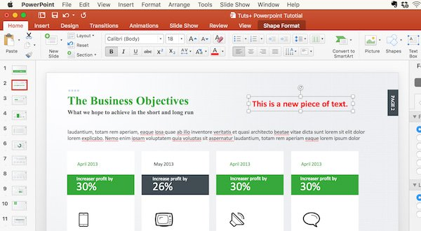 Add text to your PowerPoint presentation