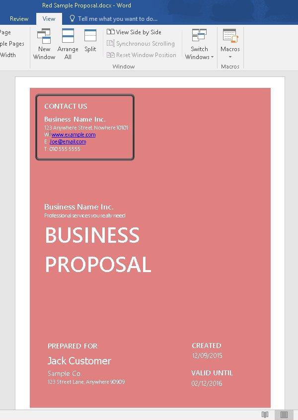 Customized business proposal template - after