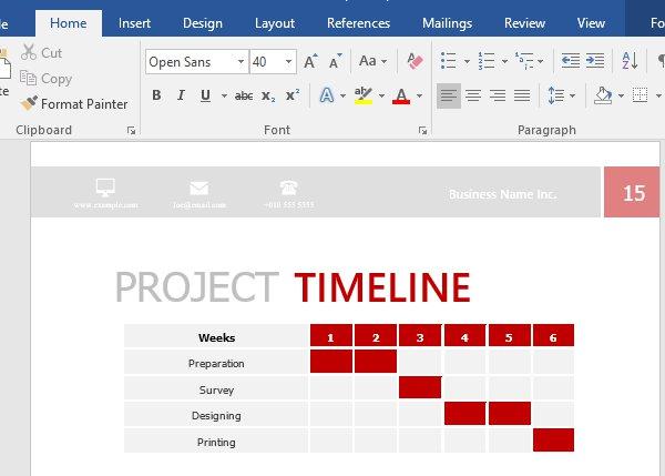 Change project timeline table