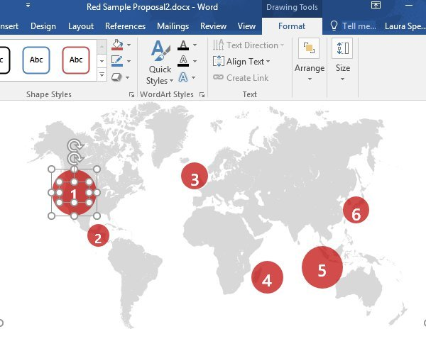 Move a graphic in our Word business proposal templates map page