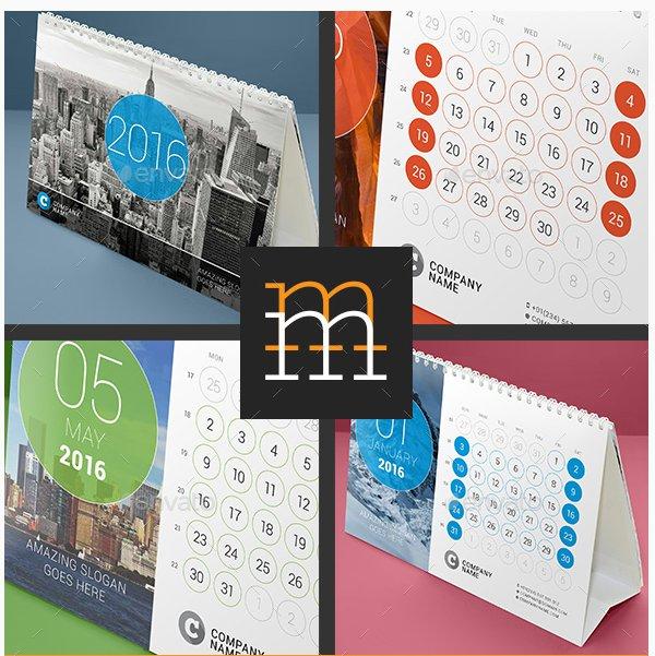 Printable desk calendar templates