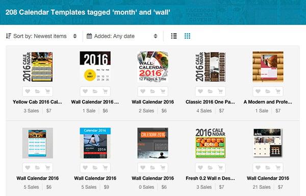 2016 monthly calendar templates