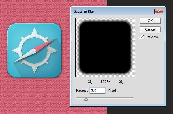Soften shadow using Gaussian Blur