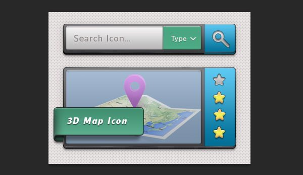 The result display image interface and a search bar