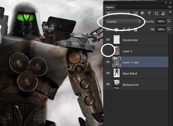 Setting teh texture blending mode to Overlay
