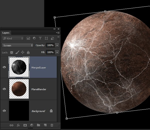 Setting the cracked texture onto the planet