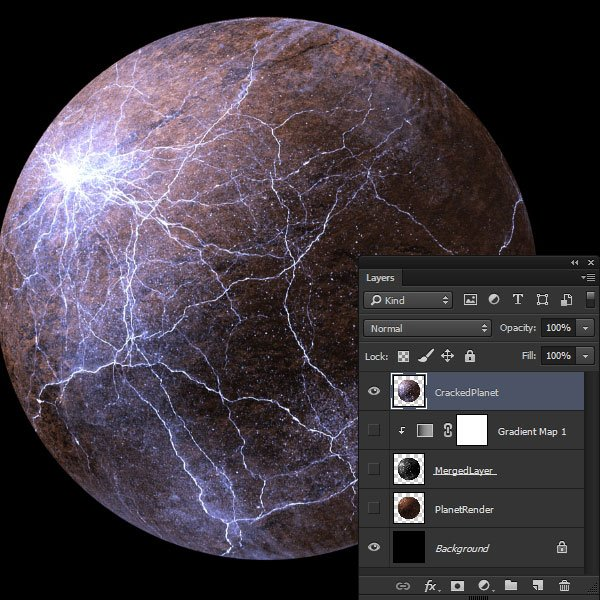 Merged layer of the cracked planet