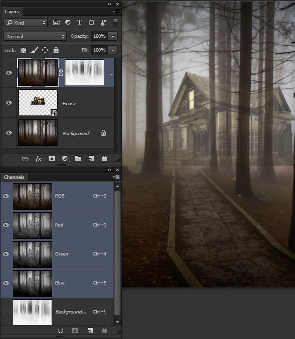 Use a luminosity selection to mask out the foreground trees