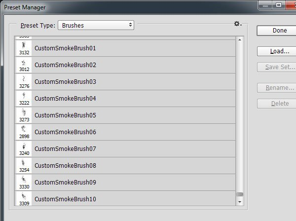 Adding our brushes to the Preset Manager