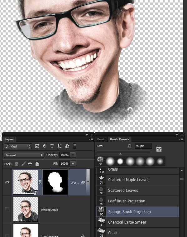 Mask out the bottom of the caricature layer