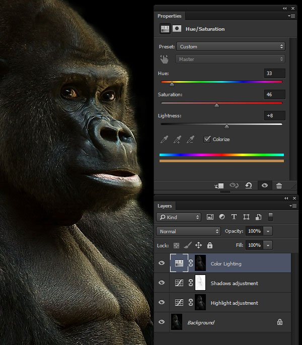 Add subtle colored light effects to the mid-tones