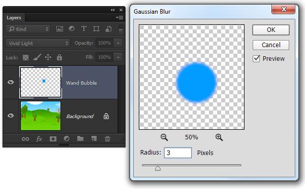 Gaussian Blur to soften the blue bubble