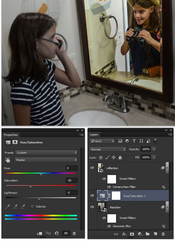 Hue Saturation adjustment layer to give a duller appearance to the reality shot