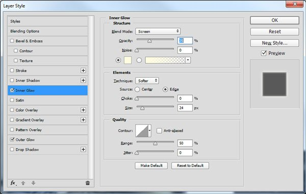 Inner Glow layer style settings