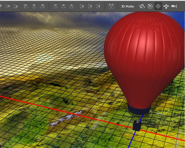 Move the scene view to place the balloon at the top right