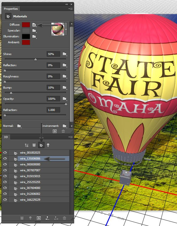 Map the decal texture onto the balloon