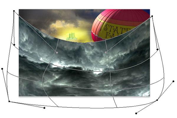 Warp the thunderstorm image around the scene
