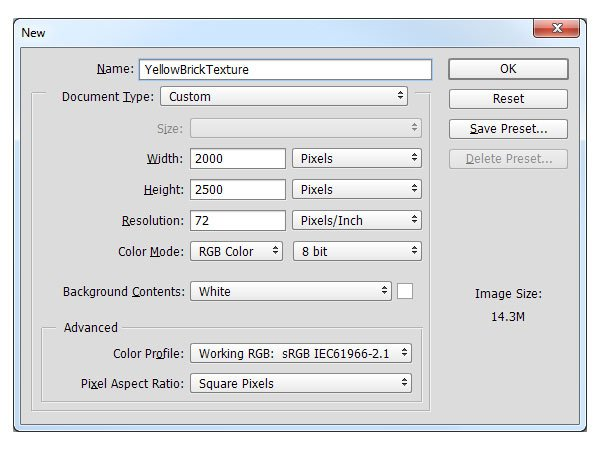 Create a new file in Photoshop