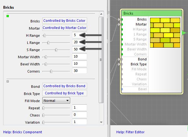Adjust the brick color settings