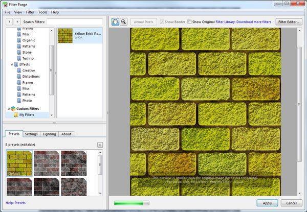 New texture previewed in the Filter Forge interface