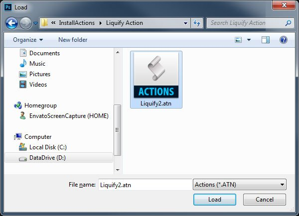Select the atn file to Load