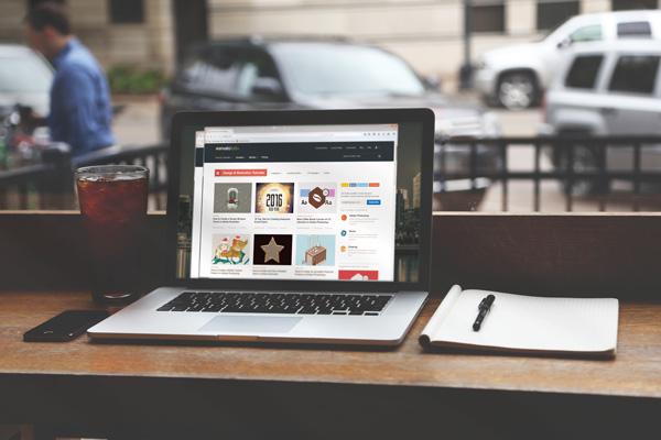 Laptop mockup showing the envatotuts tutorial screen