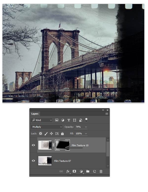 Use a layer mask to control the scratched appearance