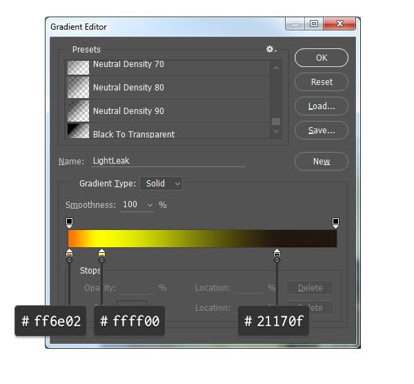 Set up a custom gradient