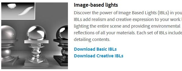 Download additional Image Based Lights from Adobe