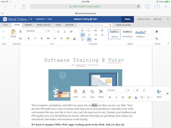 Office Online in iPad