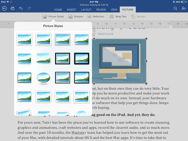 Picture options in Word for iPad