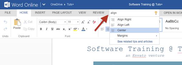 Search inside Office Online ribbon