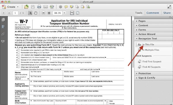 PDF in Acrobat ready to OCR